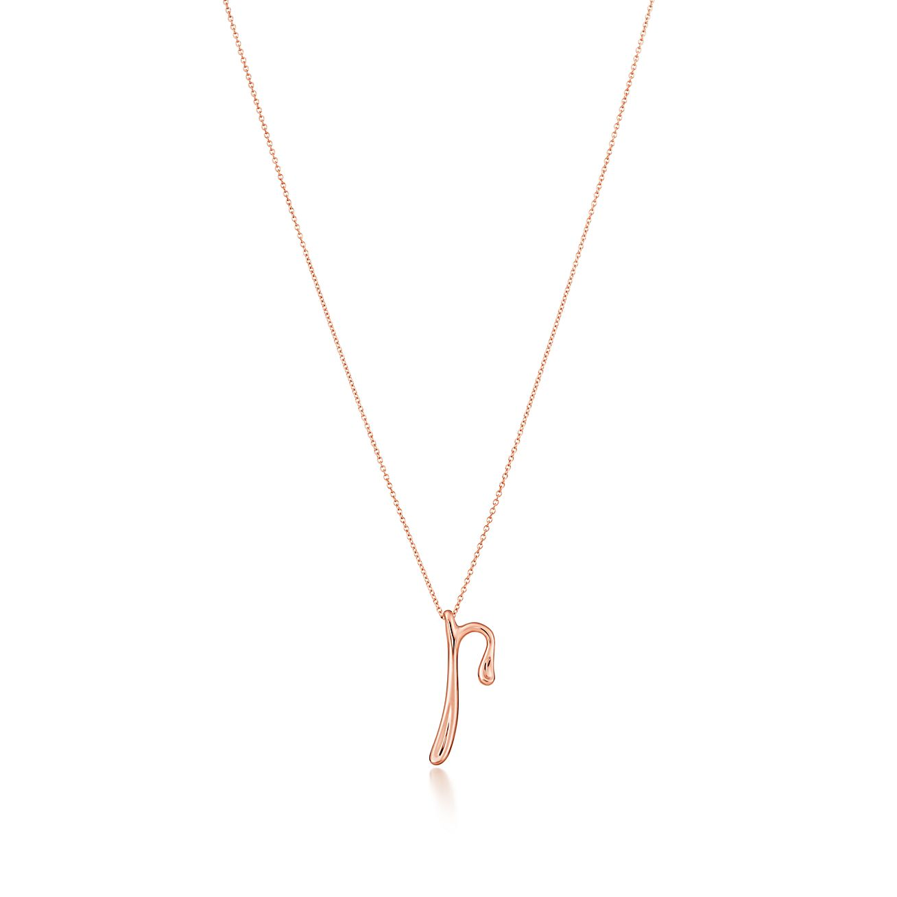 Elsa Peretti Alphabet pendant in 18k rose gold Letters A-Z available - Size Q Tiffany & Co.