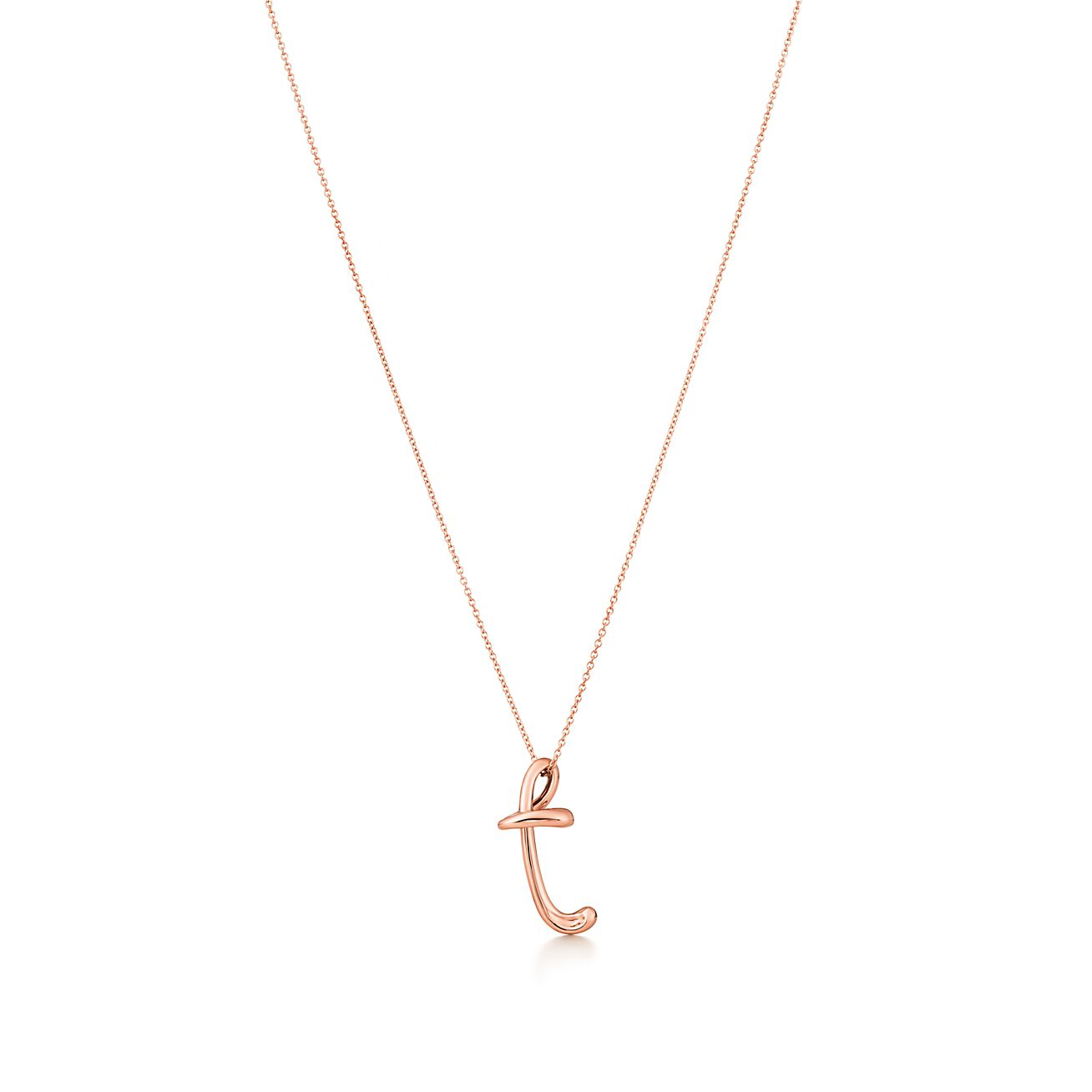 t gold pendant letter initial necklace