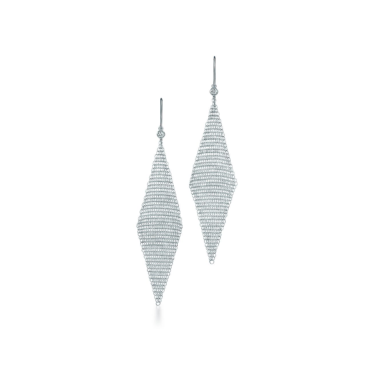 Elsa Peretti Mesh Earrings In Sterling Silver With Diamonds Small Tiffany Co