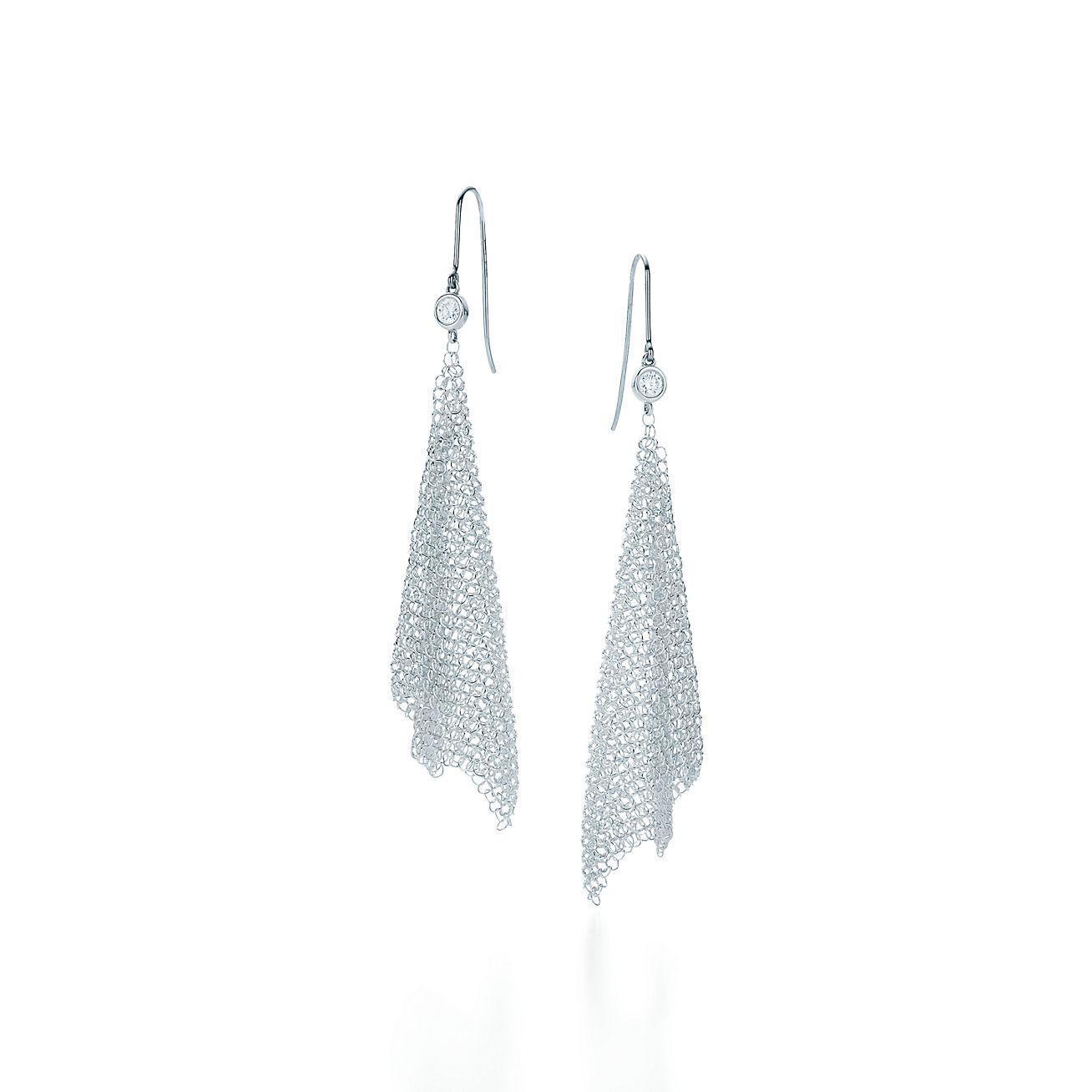 Boucles D'oreilles En Maille Elsa En Argent Sterling Peretti Avec Diamants, Petite Tiffany & Co.