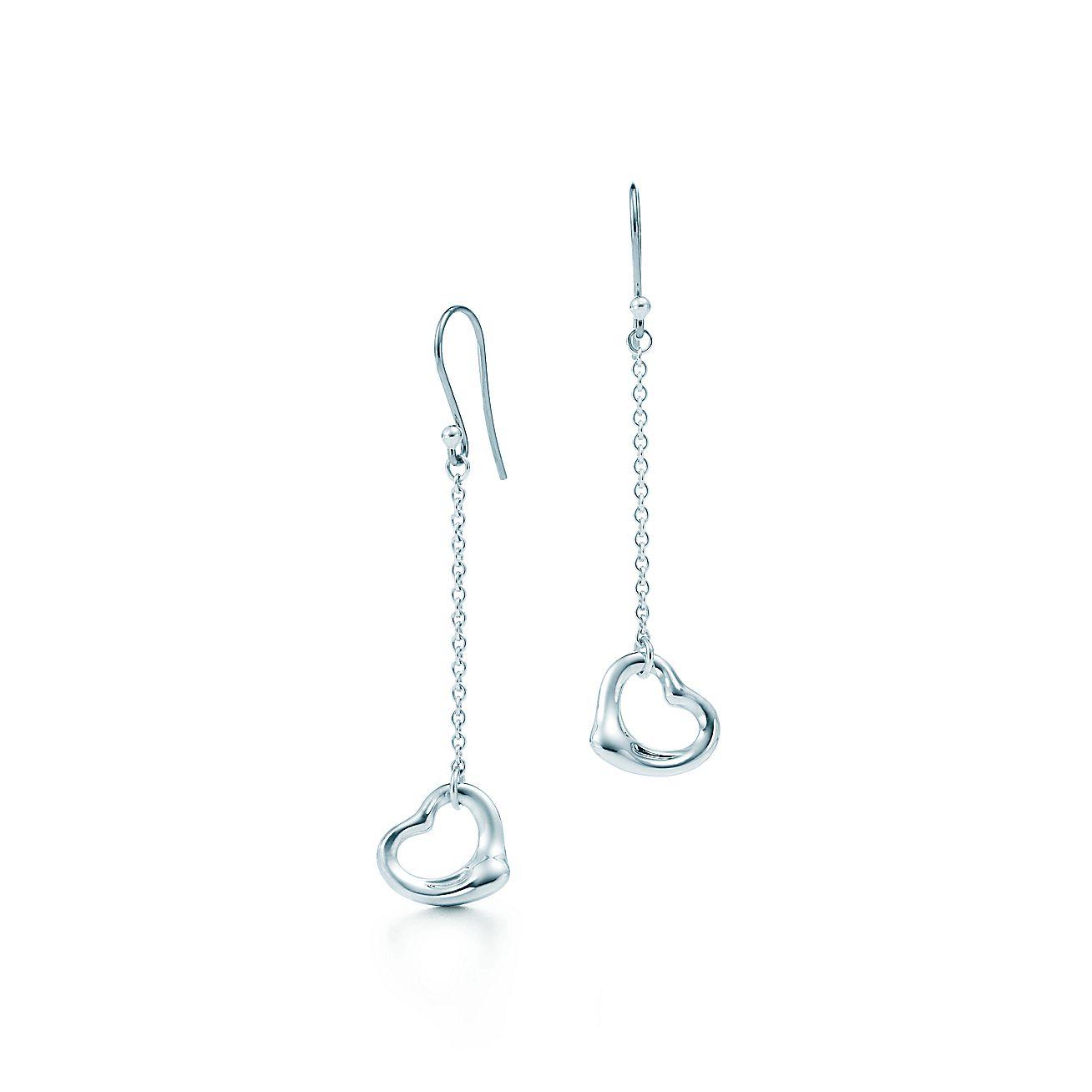 Elsa Peretti Open Heart Drop Earrings In Sterling Silver Tiffany Co