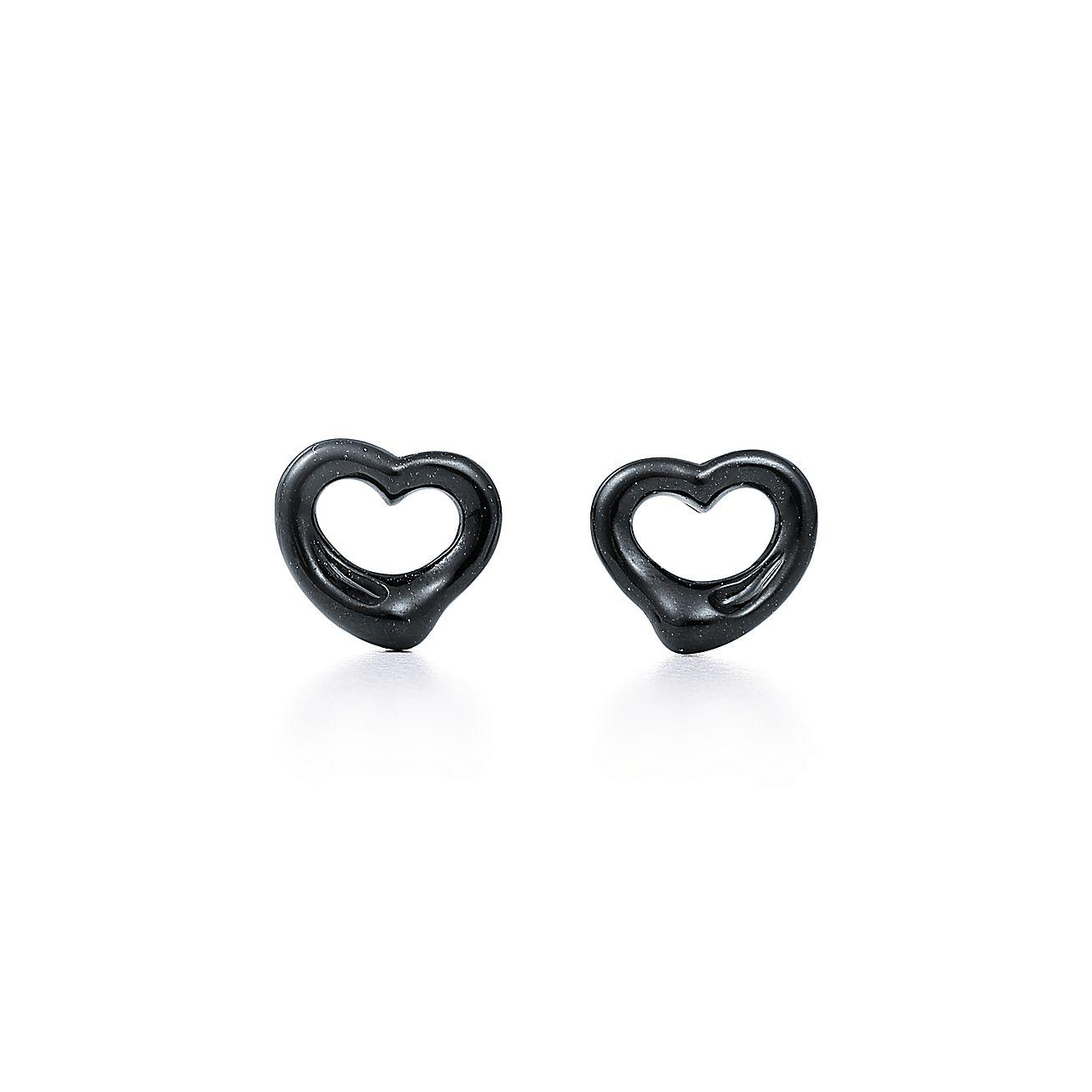 Elsa Peretti Open Heart Earrings Of Black Jade And Sterling Silver Tiffany Co