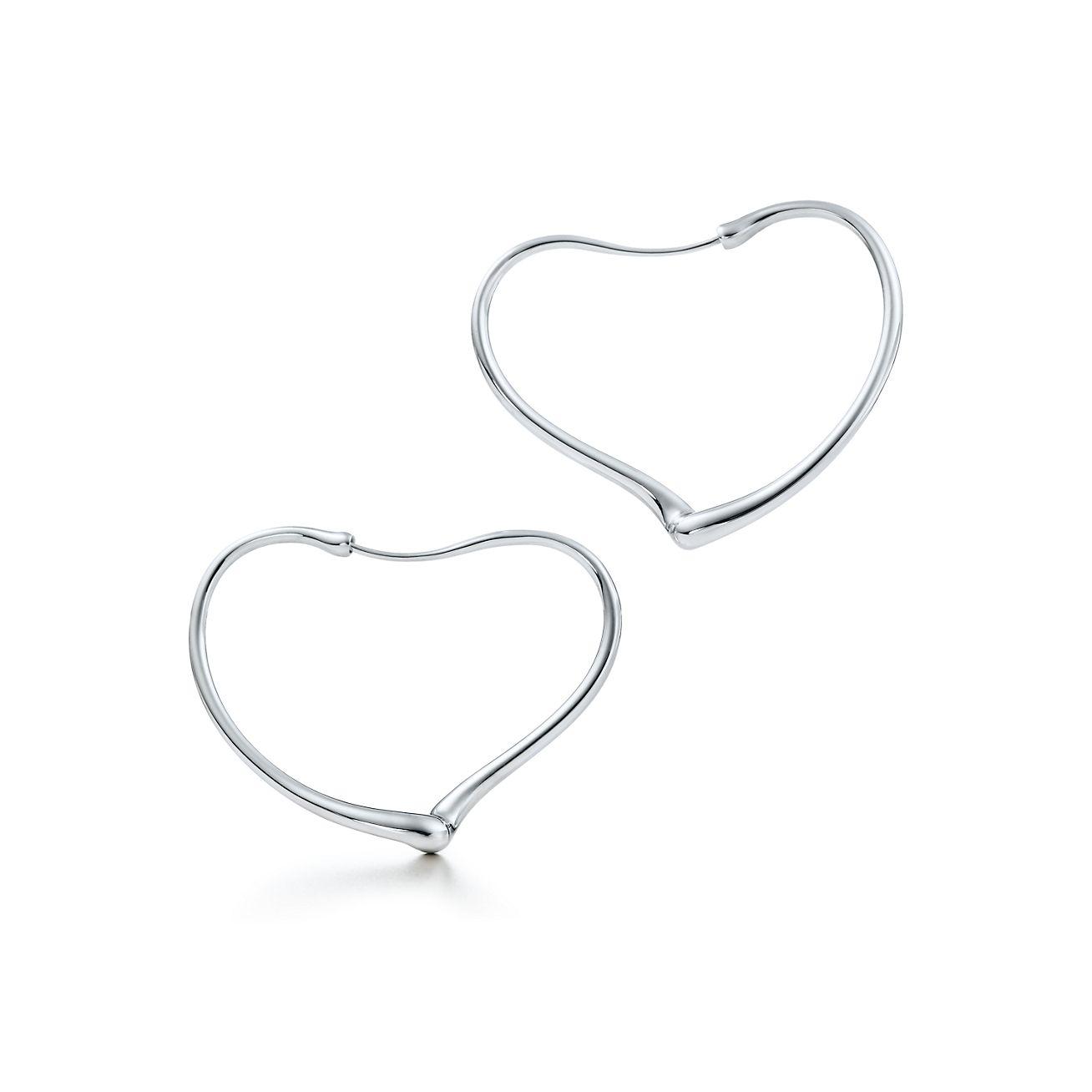 Elsa Peretti Open Heart hoop earrings in sterling silver, medium Tiffany & Co.