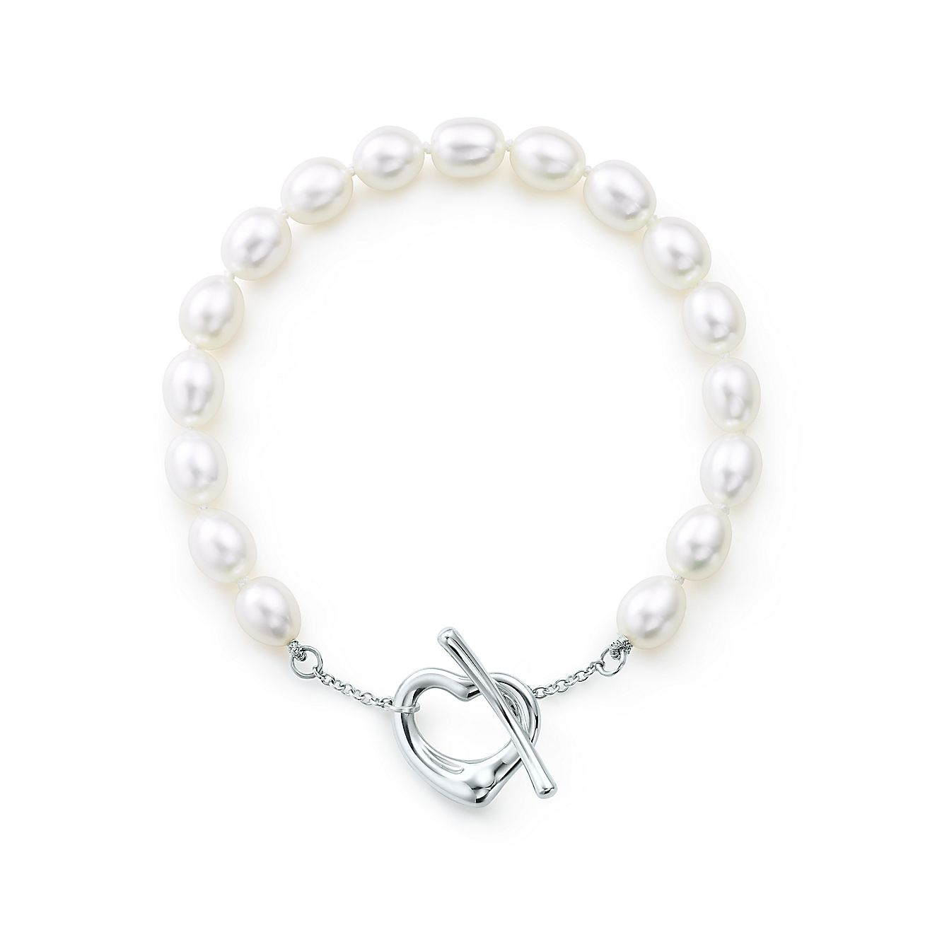 Elsa Peretti Open Heart Pearl Bracelet In Sterling Silver Medium Tiffany Co