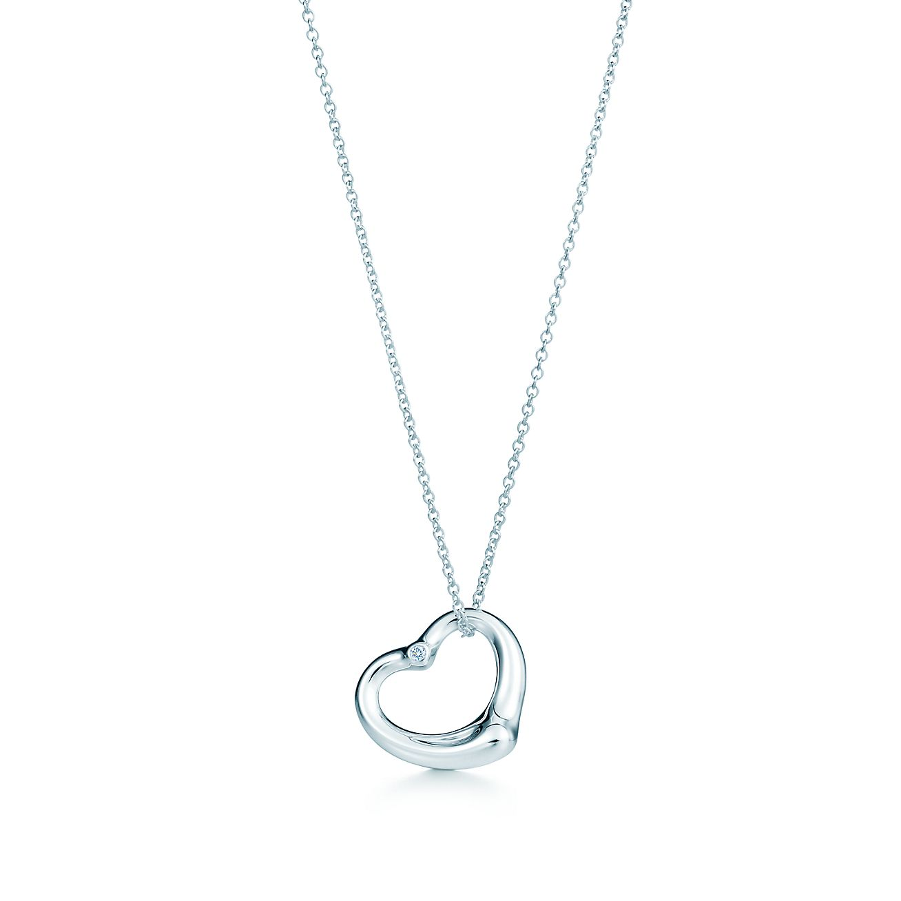 Elsa peretti open heart pendant in sterling silver with a diamond elsa perettiopen heart pendant aloadofball Images