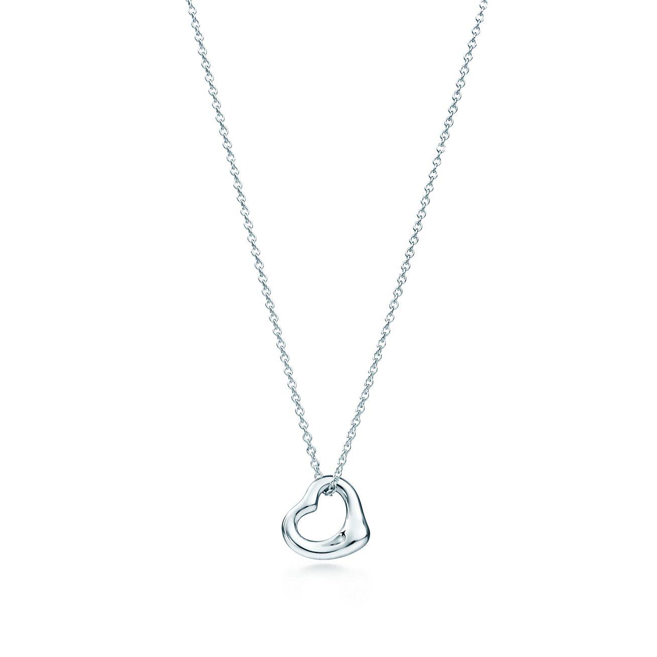 Elsa Peretti Sterling Silver Open Heart Pendant Tiffany Co