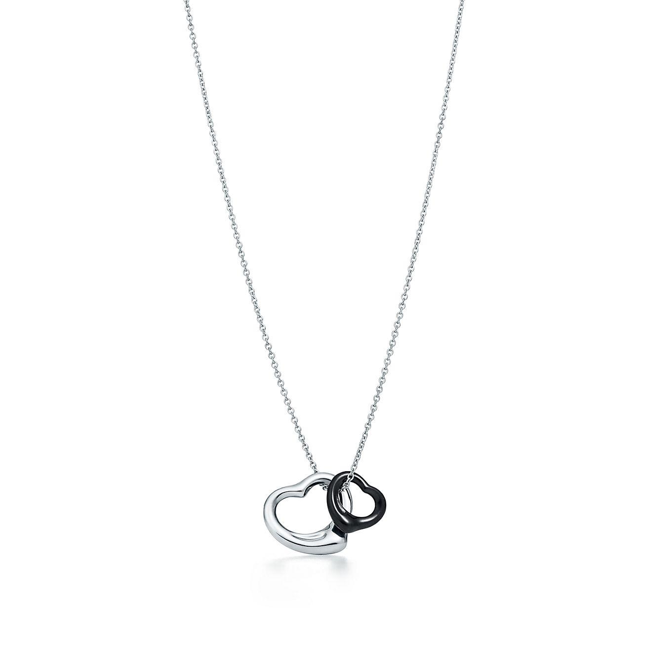 Elsa peretti open heart pendant in sterling silver and black jade elsa perettiopen heart pendant aloadofball Images