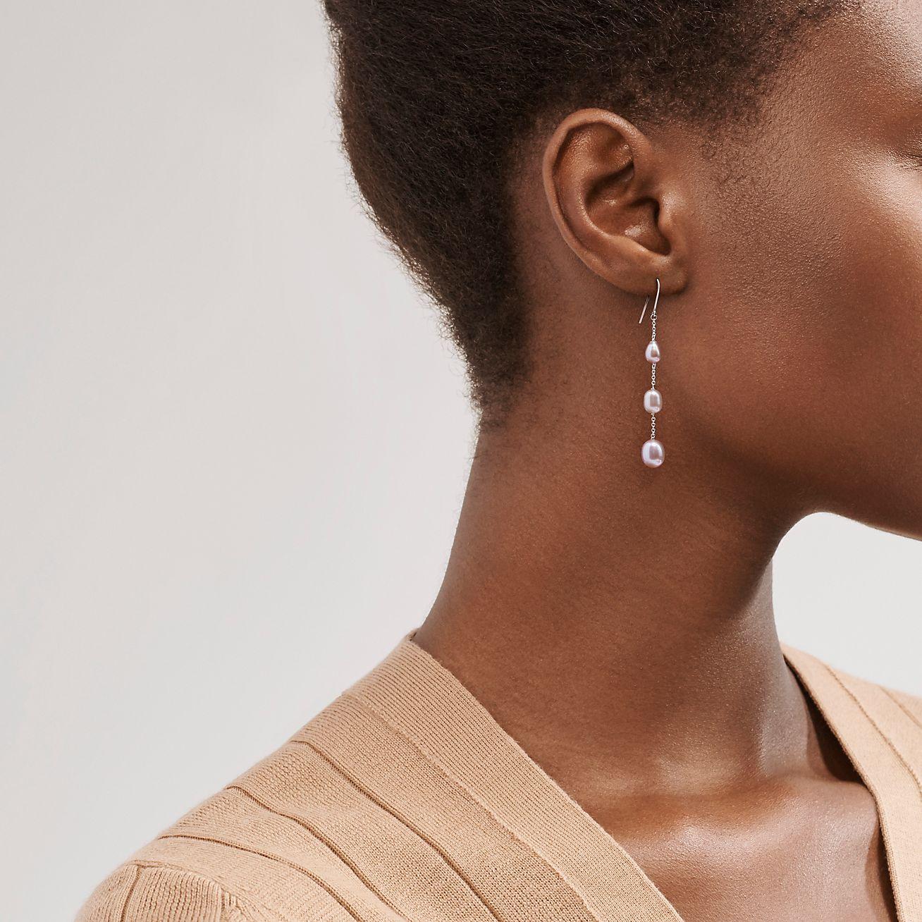 Rose pink pearl necklace,pearl earrings,pink pearl earrings rose pink dangle earrings