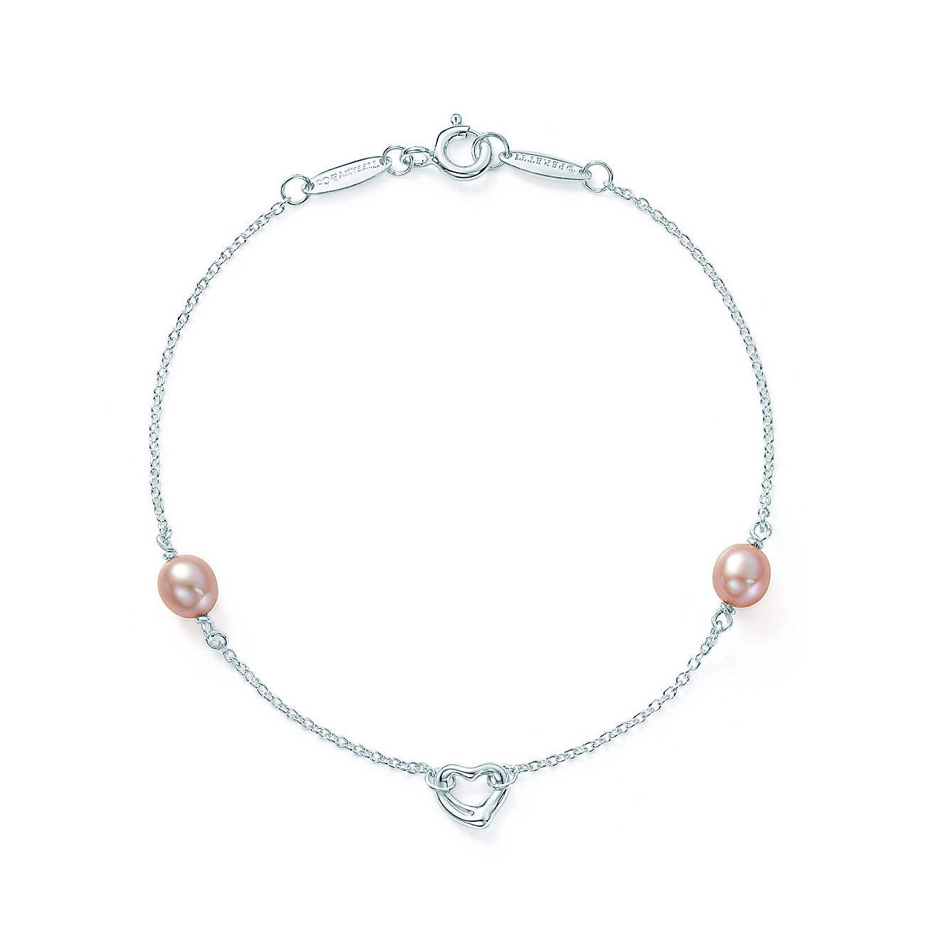 Elsa Peretti Pearls By The Yard Open Heart Bracelet In Silver With Tiffany Co