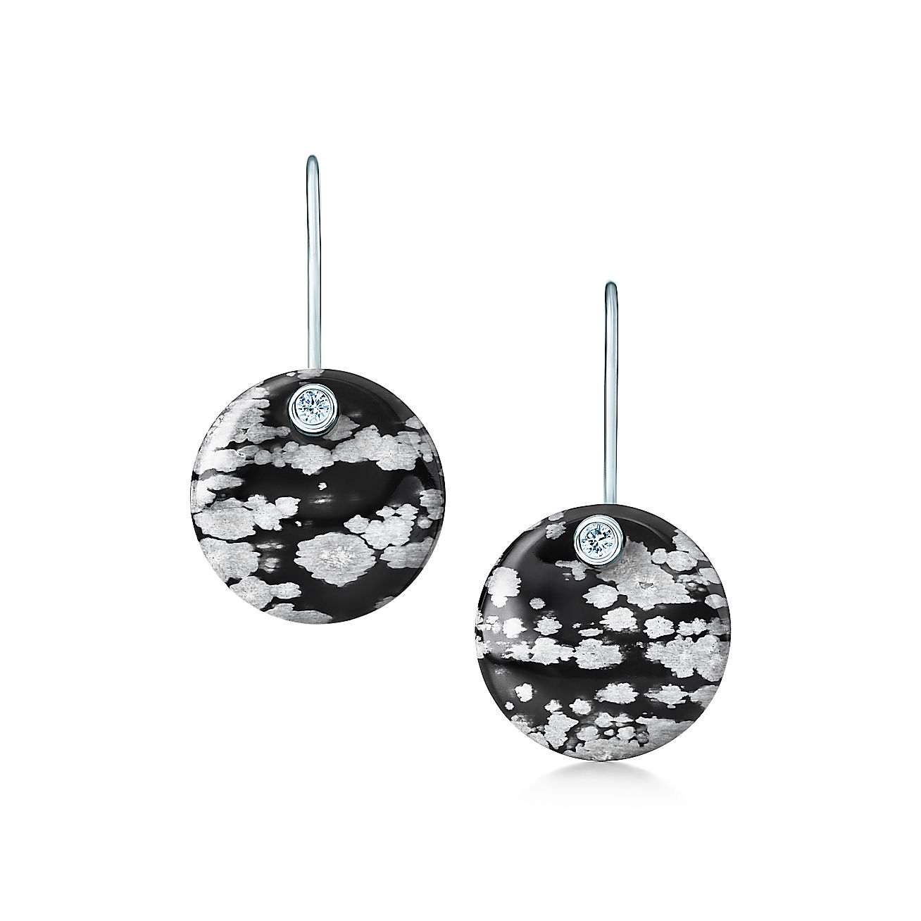 Elsa Peretti Round Earrings Of Snowflake Obsidian And Silver With Diamonds Tiffany Co