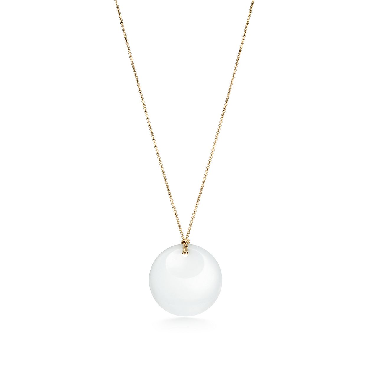 Elsa Peretti Round Pendant Of White Jade And 18k Gold Tiffany Co