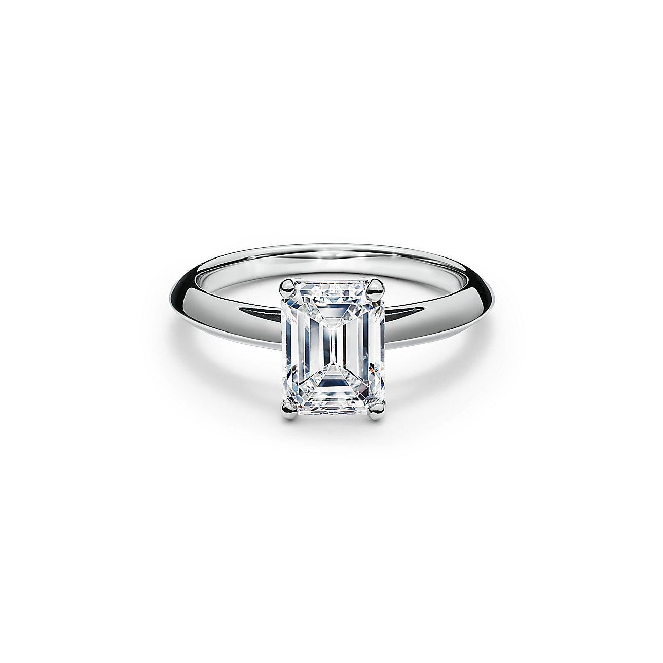 Emerald Cut Diamond Engagement Ring In