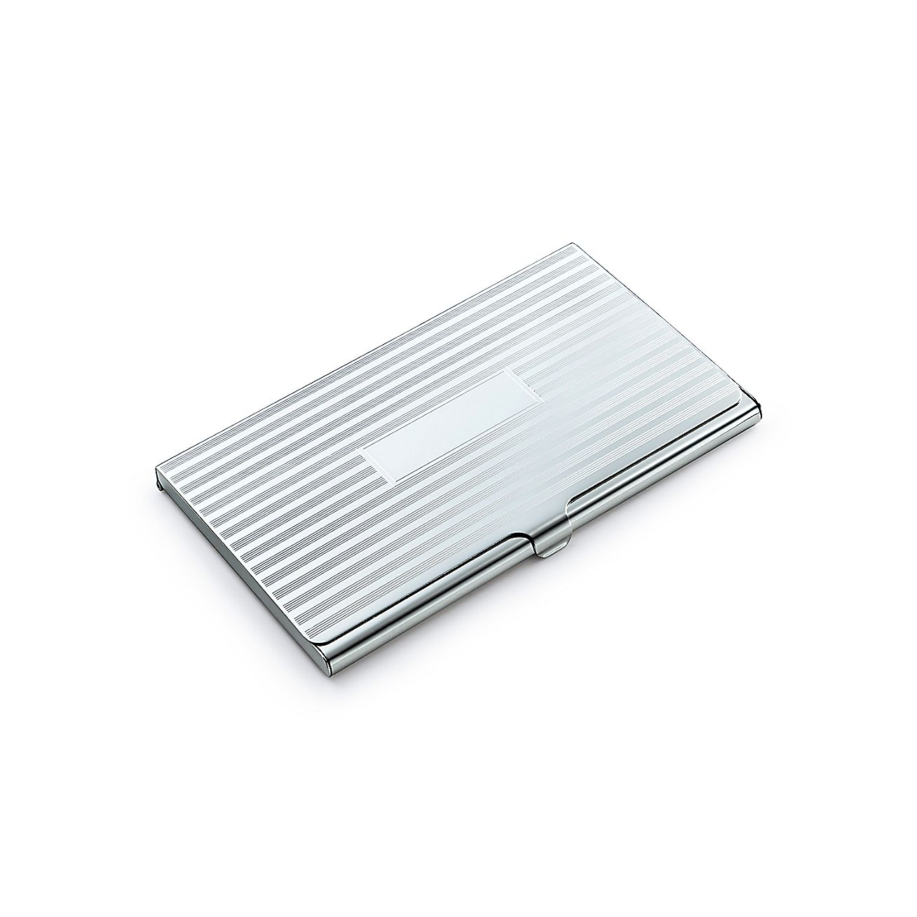 Engine-turned business card case in sterling silver. | Tiffany & Co.