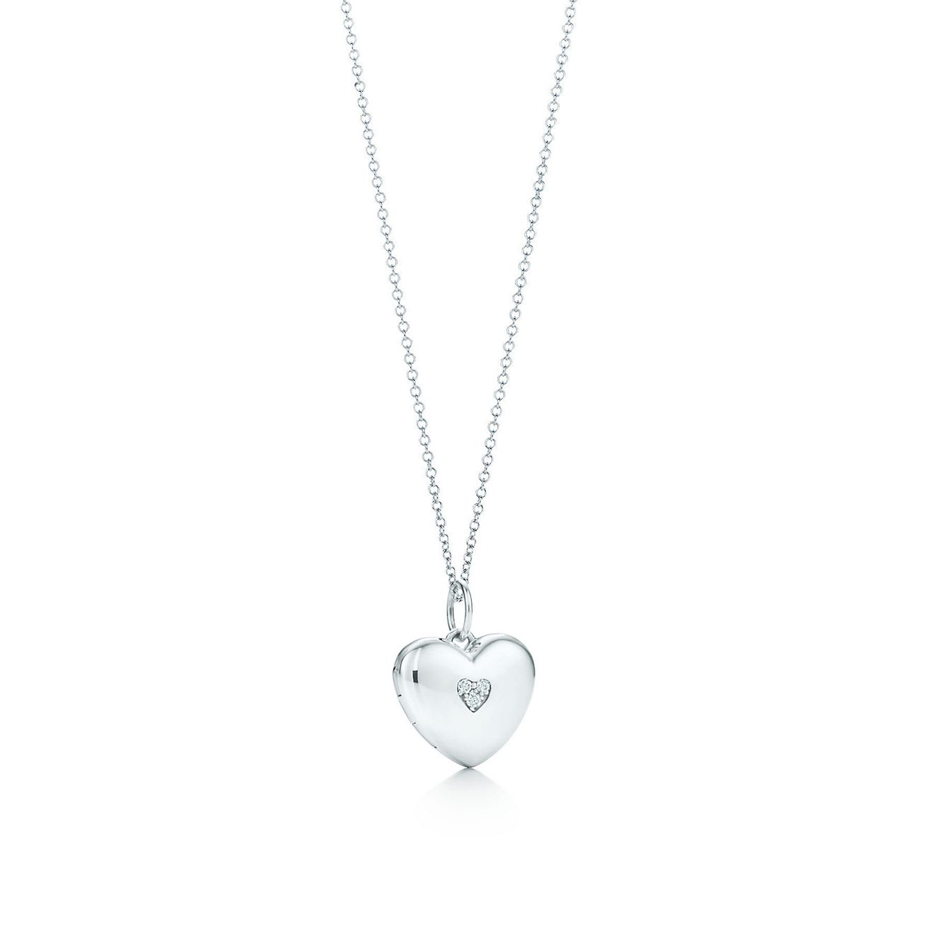 Heart locket in sterling silver with diamonds on a chain tiffany heart locket in sterling silver with diamonds on a chain tiffany co mozeypictures Image collections