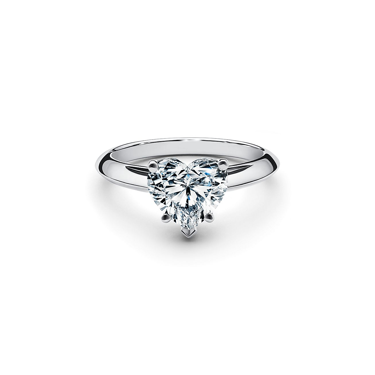 Heart Shaped Diamond Engagement Ring In Platinum