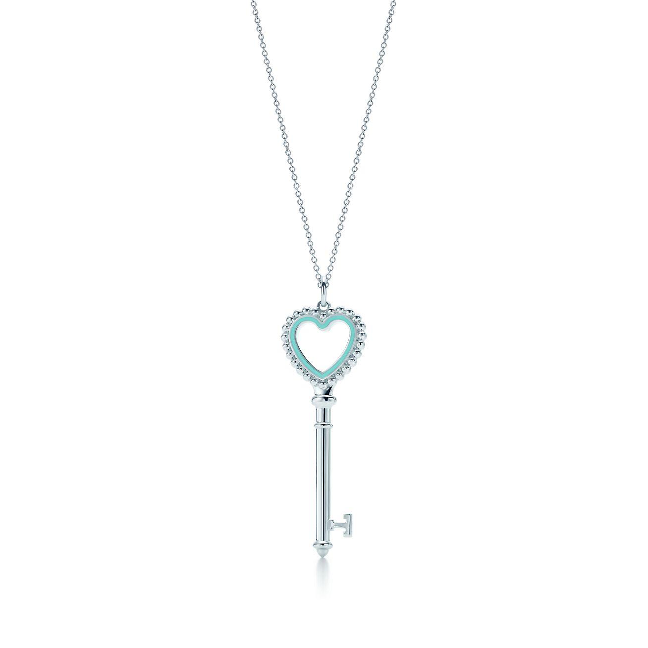 Colgante con llave en forma de corazn de cuentas de tiffany en llaves de tiffany colgante con llave en forma de corazn de cuentas aloadofball Gallery