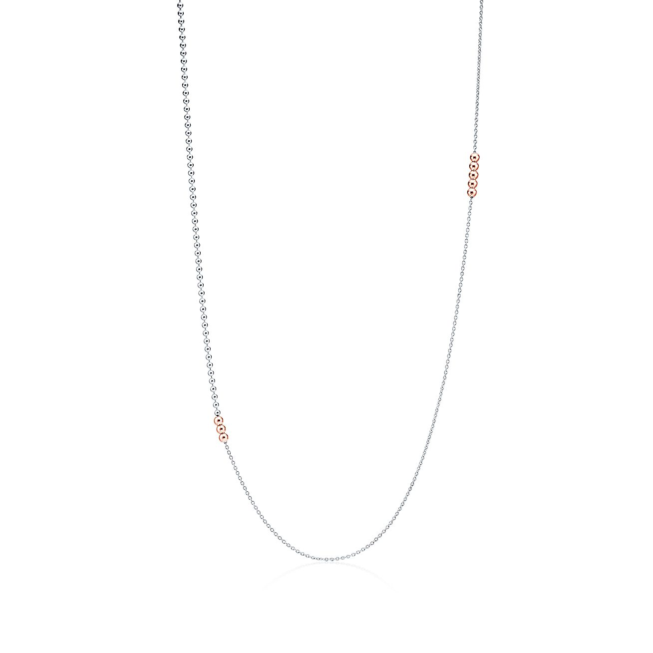 Mixed Bead Chain In Sterling Silver And 18k Rose Gold Tiffany Co