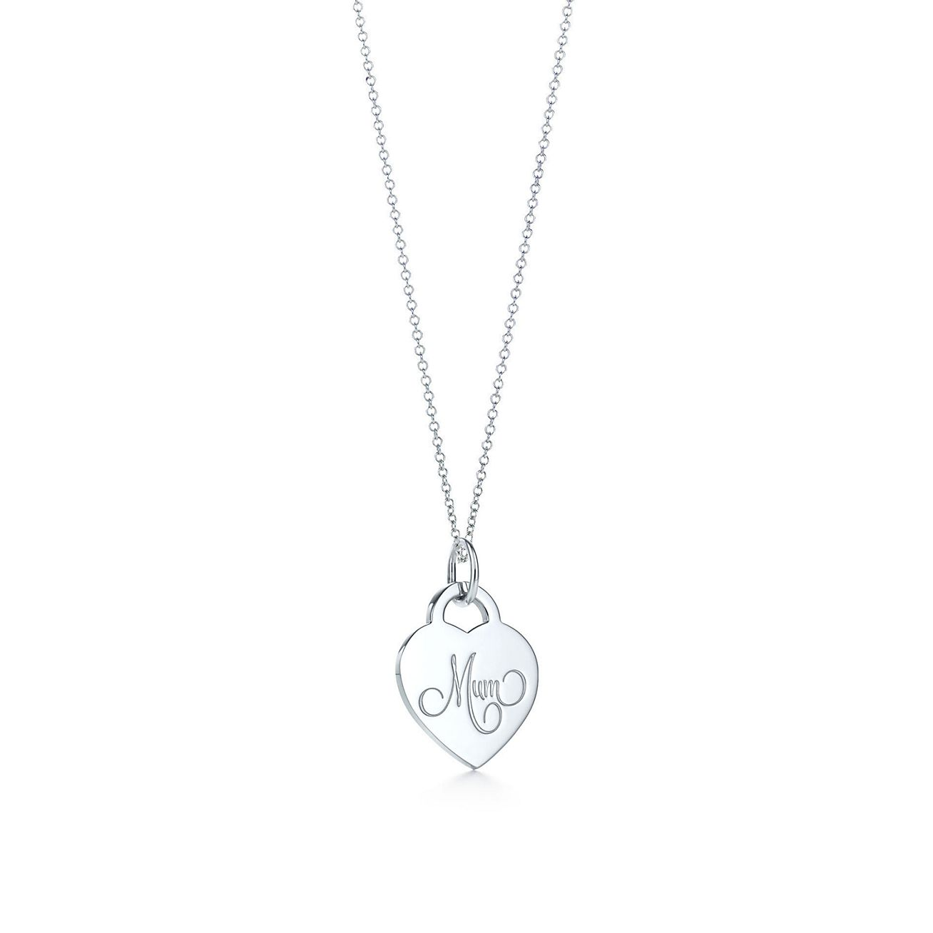 Mum heart tag charm in sterling silver on a chain tiffany co mum heart tag charm and chain aloadofball Image collections