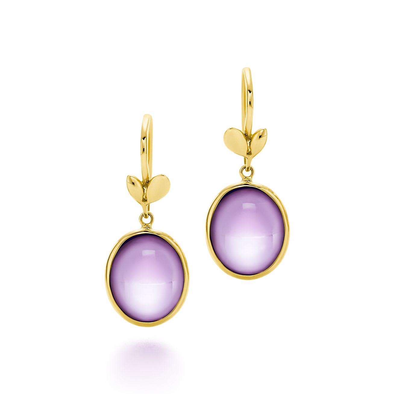 Paloma Picasso Boucles D'oreilles De Feuilles D'olivier En Or 18 Carats Avec Améthystes Tiffany & Co. zTpbsR