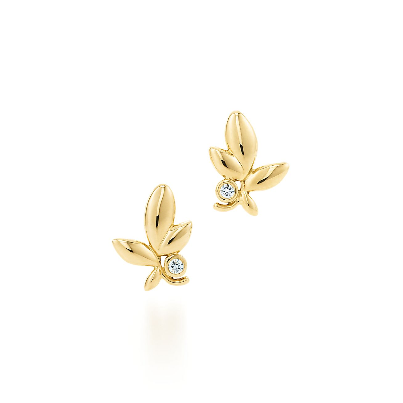 Paloma Pico Olive Leaf Earrings In 18k Gold With Diamonds Tiffany Co