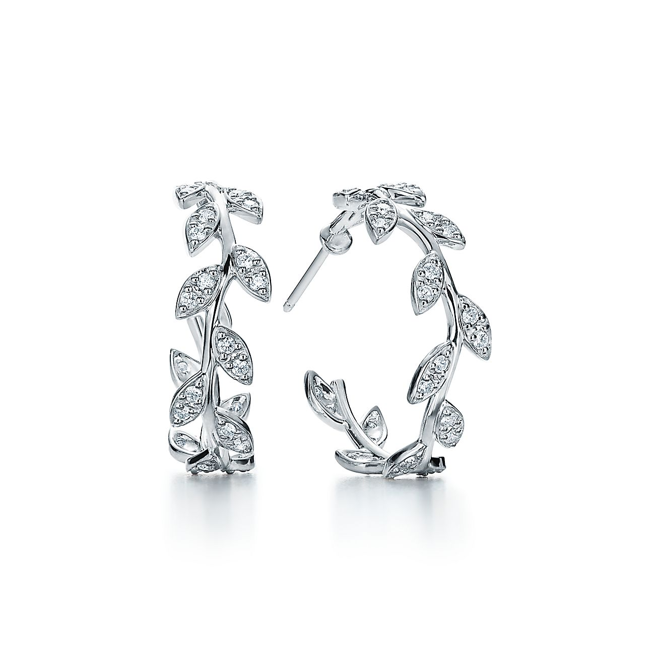 Paloma Pico Olive Leaf Hoop Earrings In 18k White Gold With Diamonds Tiffany Co