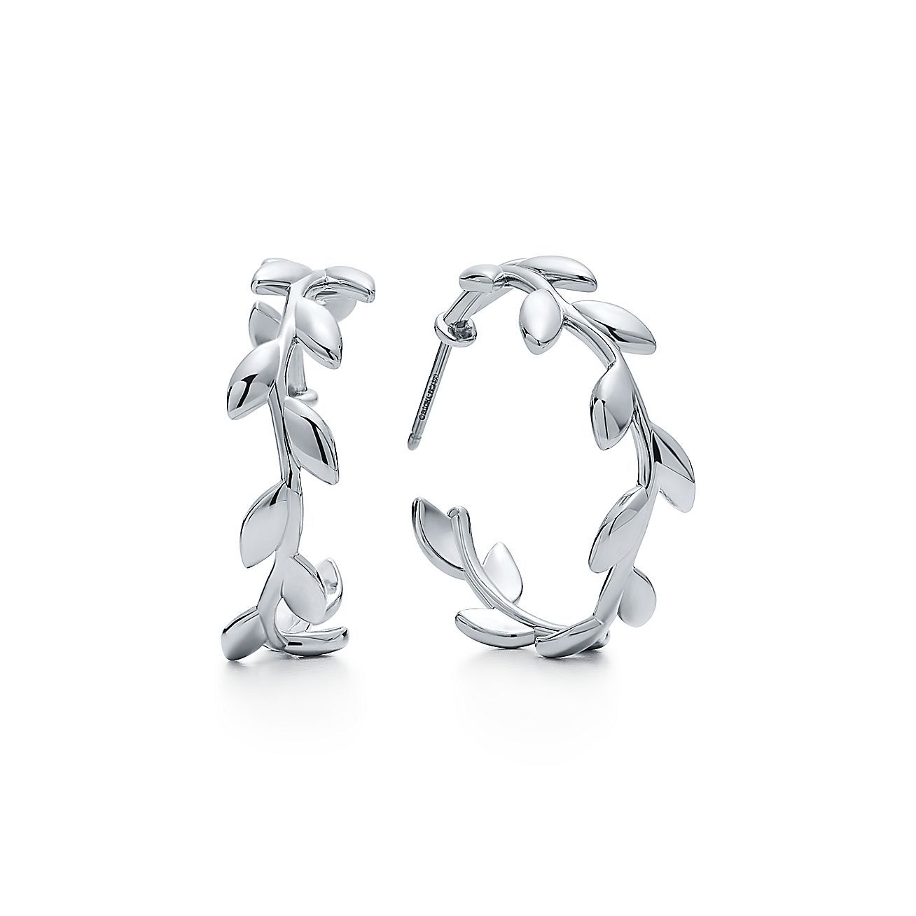 paloma picasso olive leaf hoop earrings in sterling silver