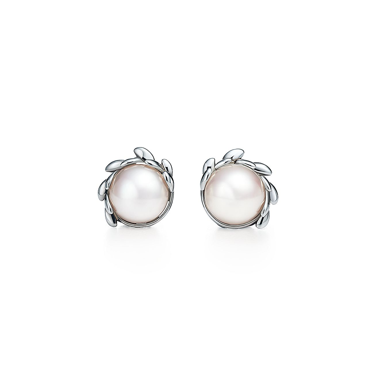 Paloma Pico Olive Leaf Pearl Earrings In Sterling Silver Tiffany Co
