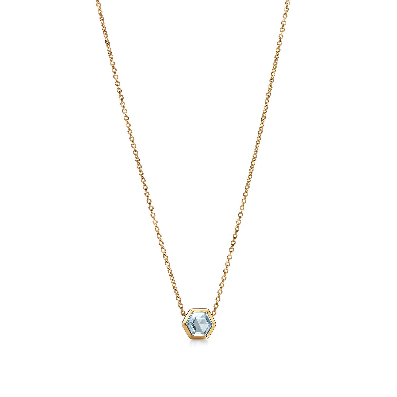 Hexagon Pendant in 18k Gold with a Blue Topaz