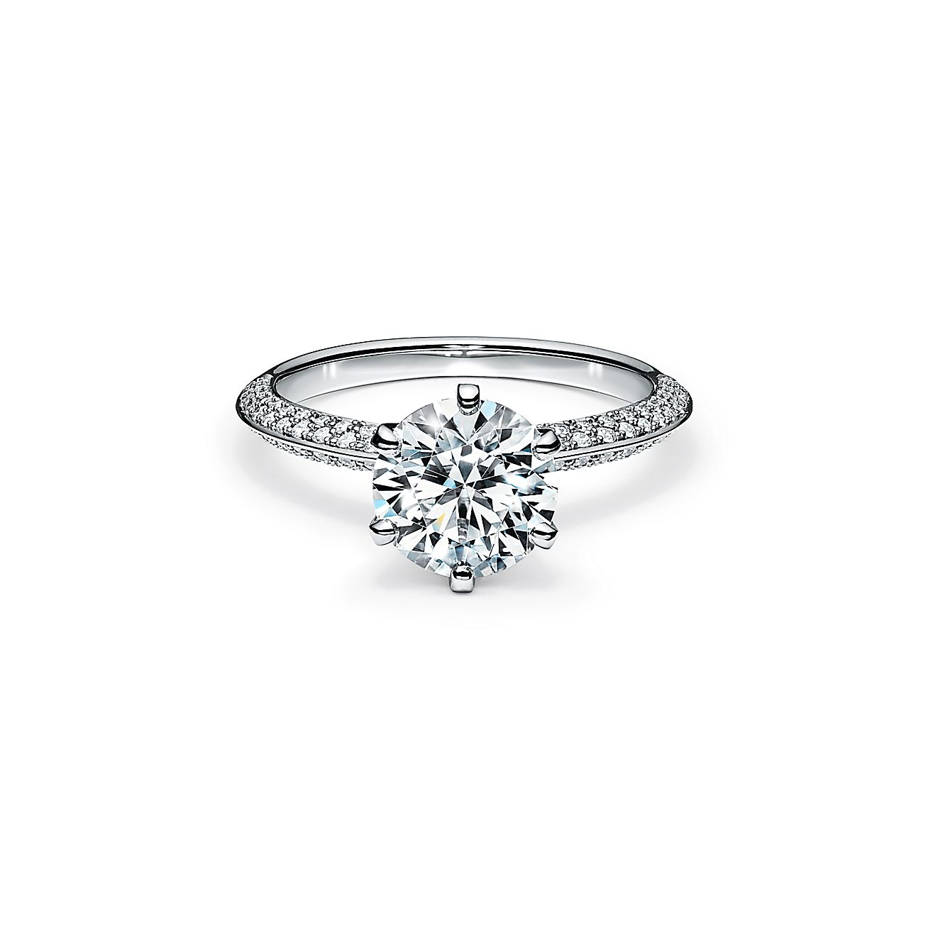 Pave Tiffany Setting Engagement Ring With A Pave Diamond Band