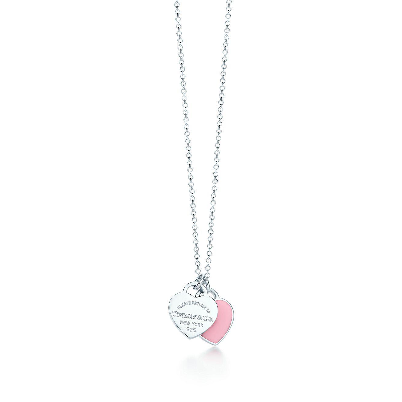 7f9875ed7dfd0d Pendentif double Plaque Cœur mini en argent 925 millièmes et finition  émail.   Tiffany   Co.