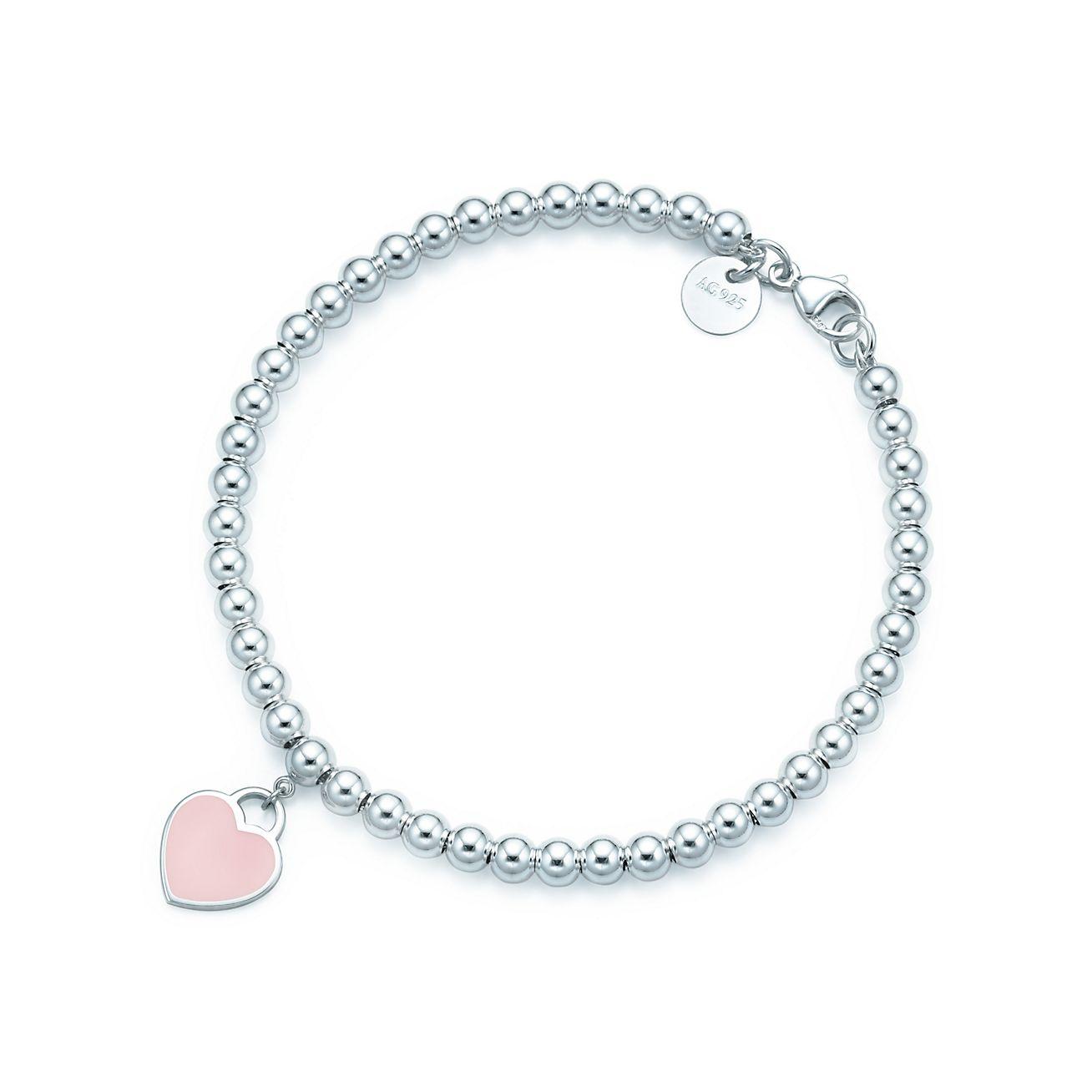 Bracciale bead in argento con rifinitura in vernice rosa, medio.
