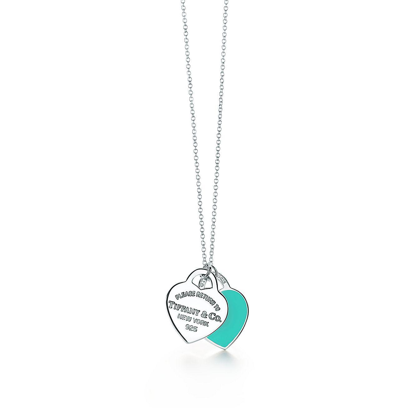 9f44e3f8afba7a Pendentif double Plaque Cœur Return to Tiffany™ en argent 925 millièmes.  Small.   Tiffany   Co.
