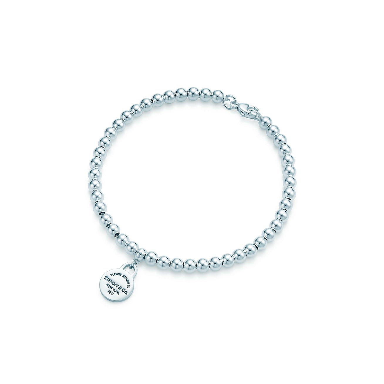 Return To Tiffany Mini Round Tag In Sterling Silver On A Bead Bracelet Co