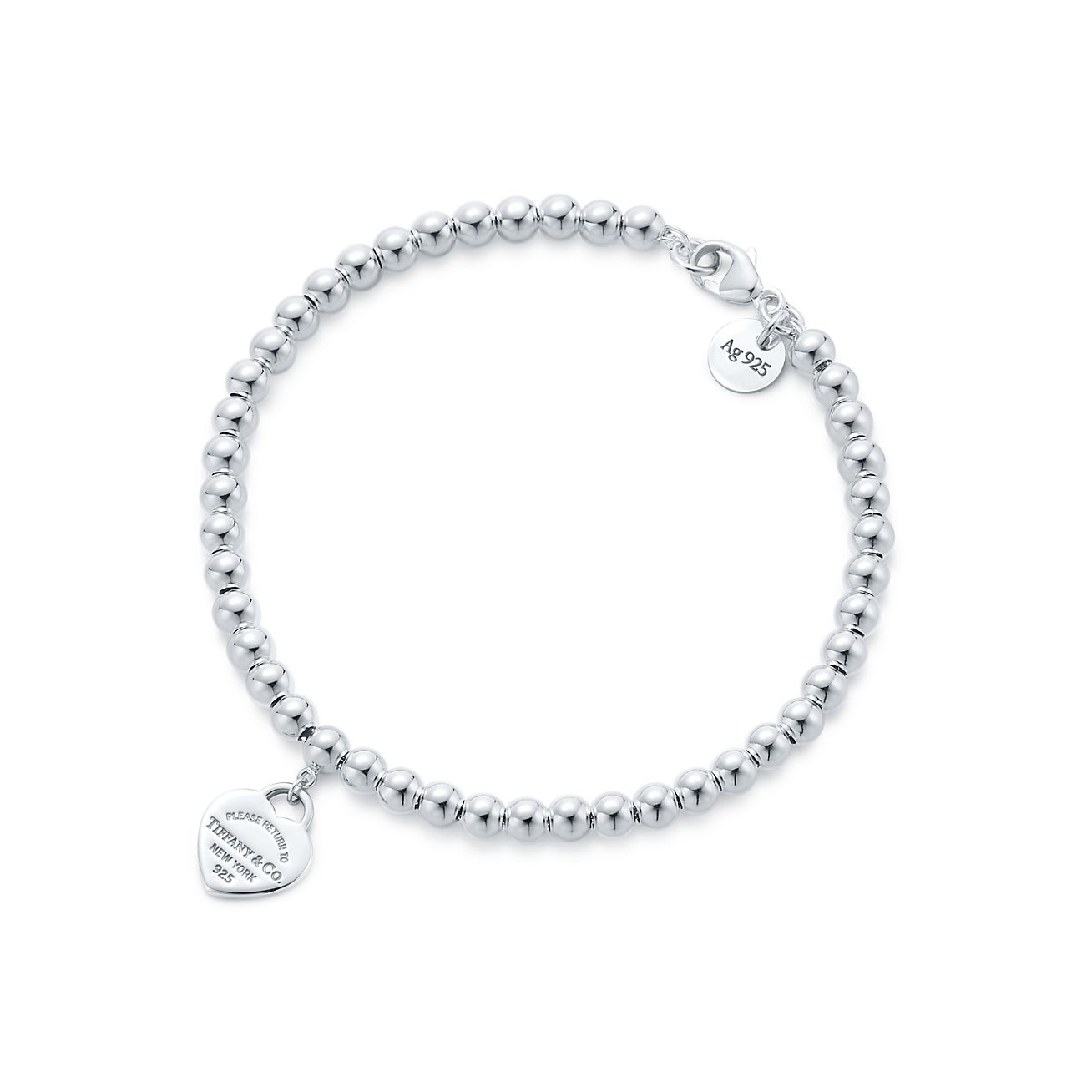 Tiffany Mini Heart Tag Bead Bracelet