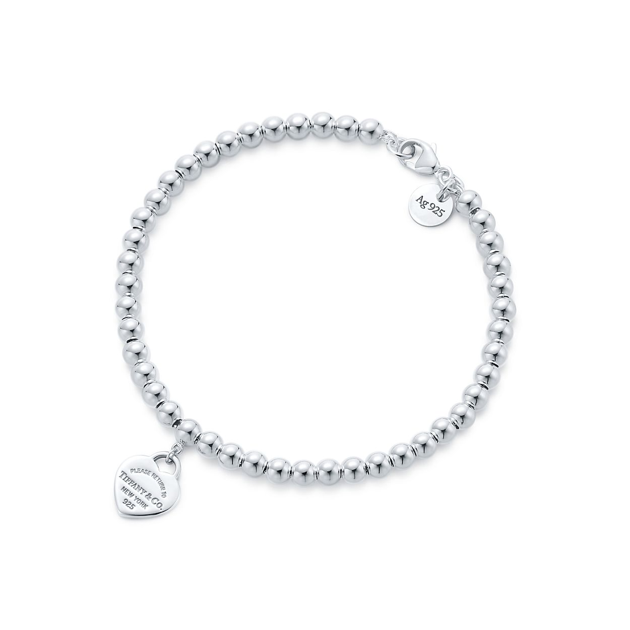 Tiffany Mini Heart Tag Bead Bracelet
