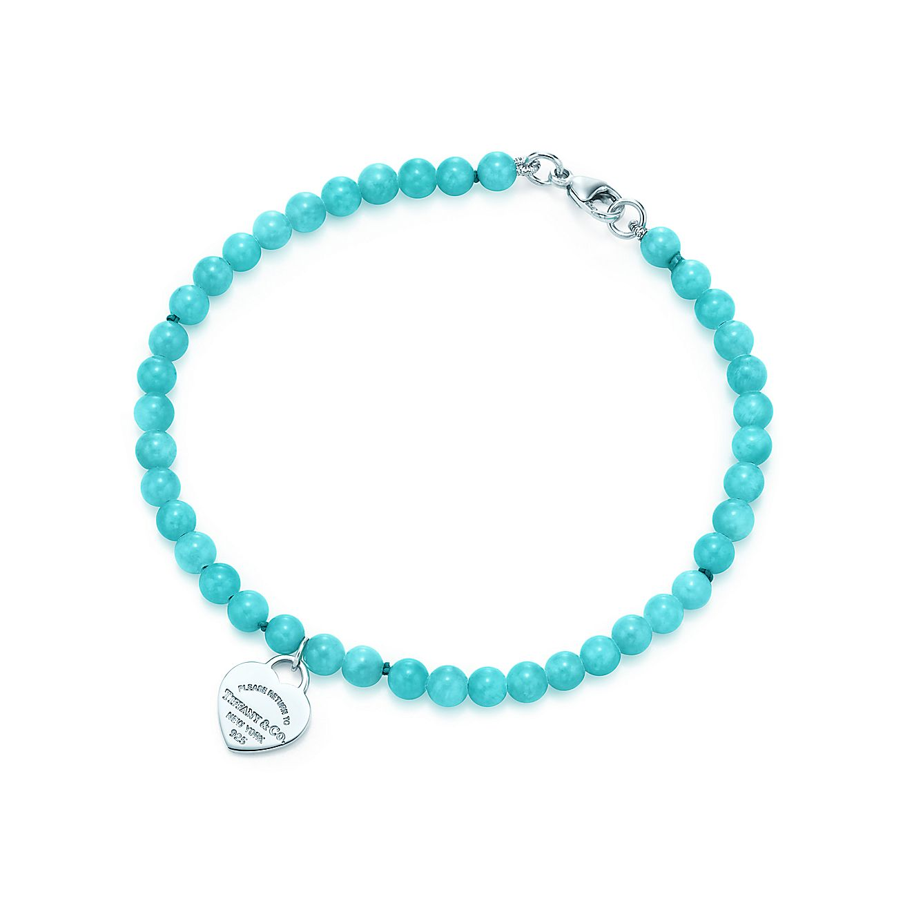 Return To Tiffany Mini Heart Tag In Silver On An Ite Bead Bracelet Co