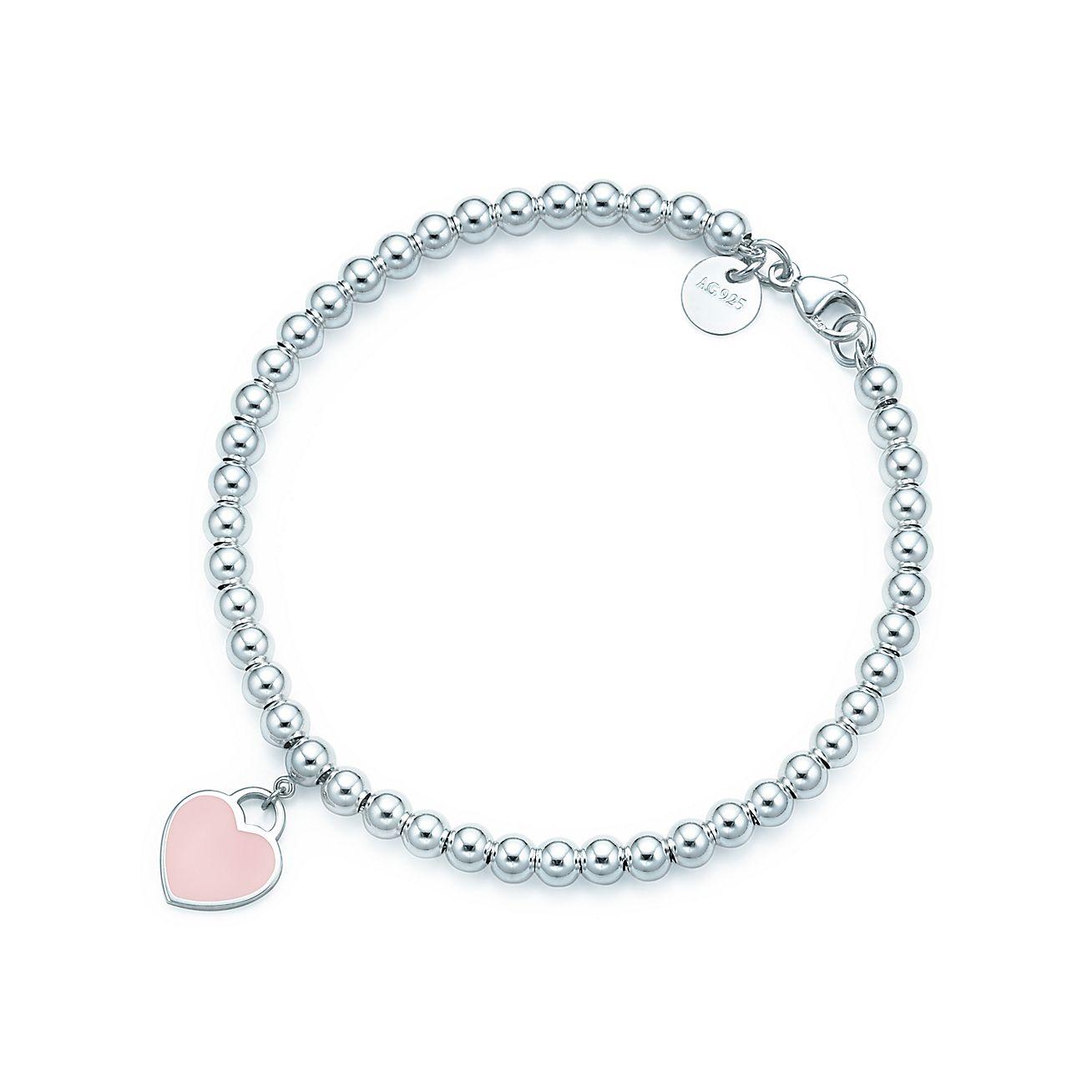 Return To Tiffany Bead Bracelet In Silver With Pink Enamel Finish Medium Co