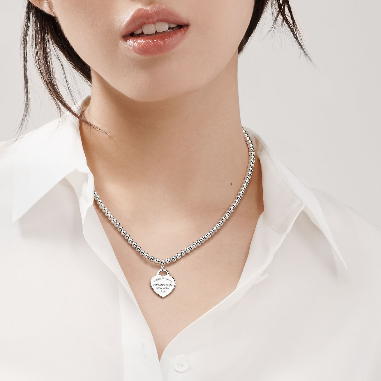 Return To Tiffany Small Heart Tag In Sterling Silver On A Bead Necklace Tiffany Co