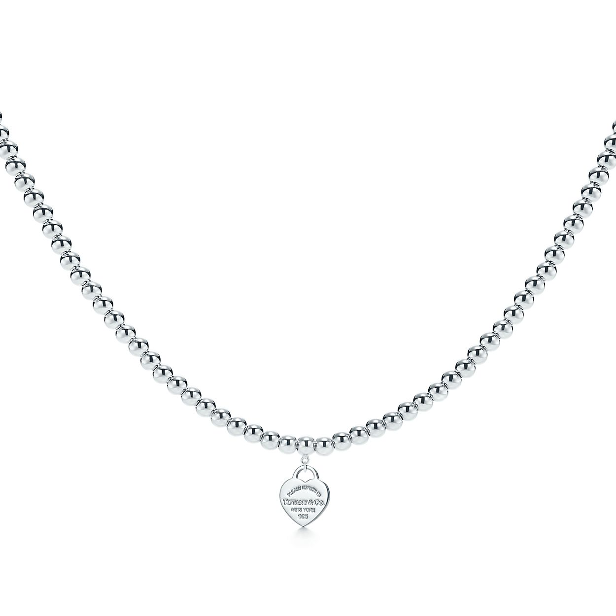 Return To Tiffany Heart Tag Necklace In Sterling Silver On A Beaded Necklace Tiffany Co