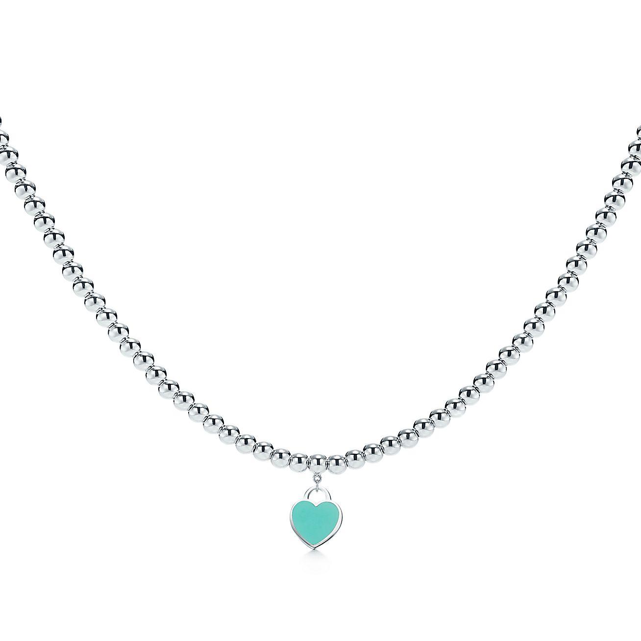 Return to tiffany heart tag necklace in sterling silver on a beaded return to tiffany heart tag necklace in sterling silver on a beaded necklace tiffany co aloadofball Gallery