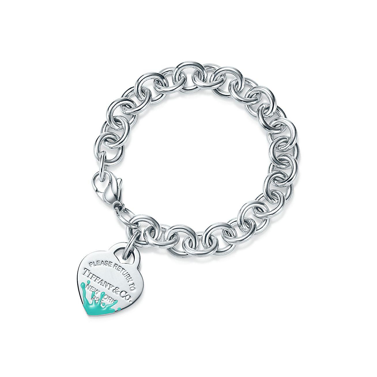 Return To Tiffany Color Splash Heart Tag Bracelet In Sterling Silver Medium Co