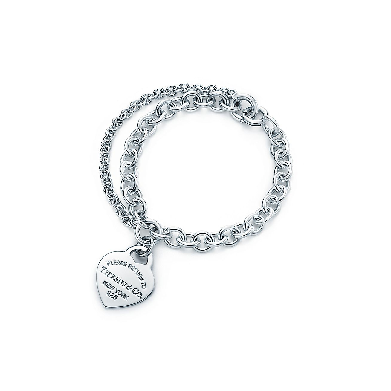 Return To Tiffany Silver Double Chain Heart Tag Bracelet Co