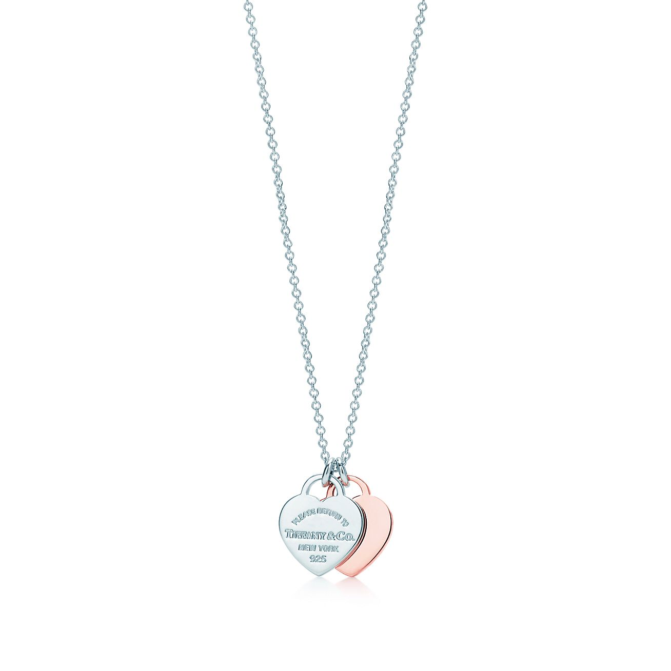 Return to Tiffany double heart pendant in Rubedo metal and silver, mini Tiffany & Co.