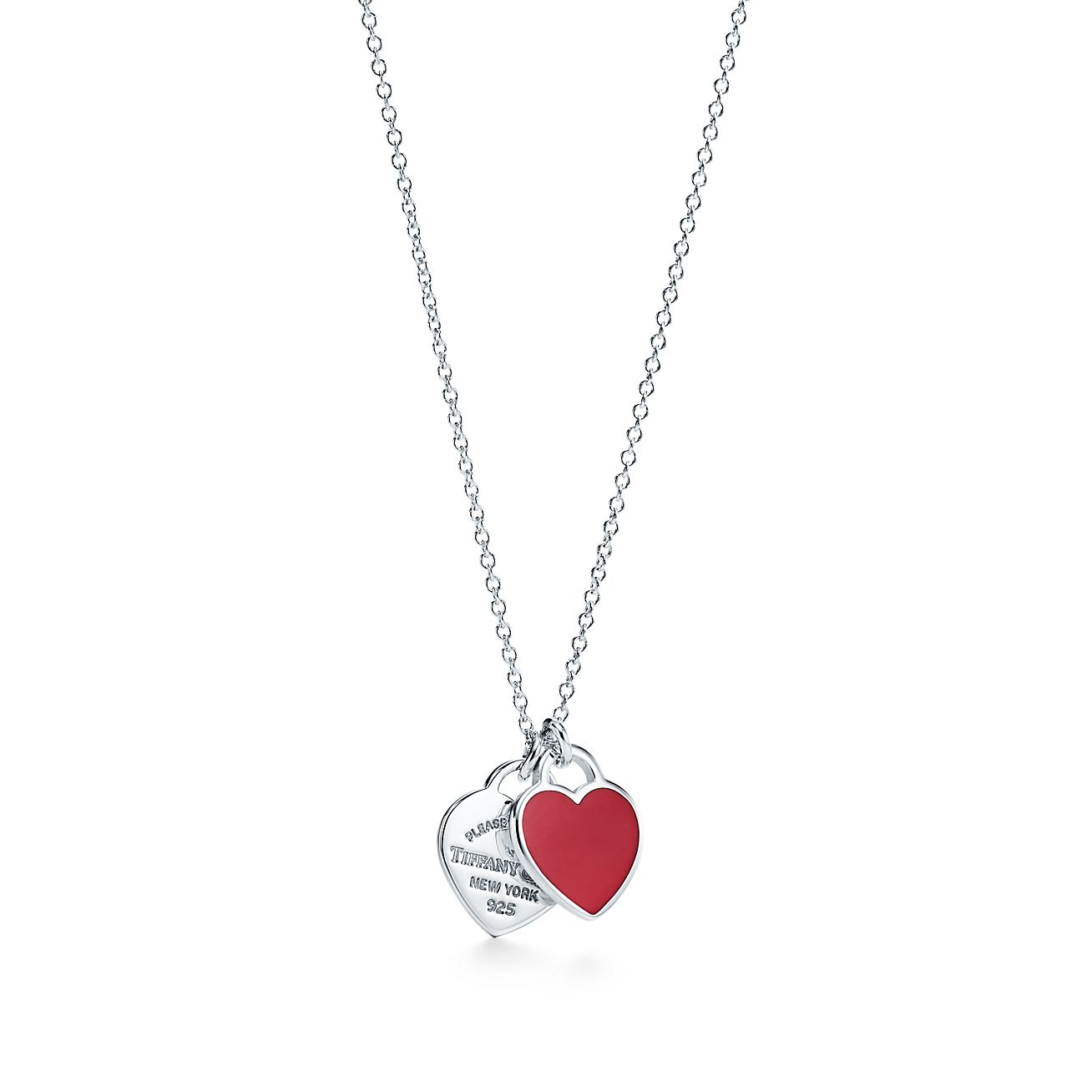 Return To Tiffany Double Heart Pendant In Silver With Red Enamel