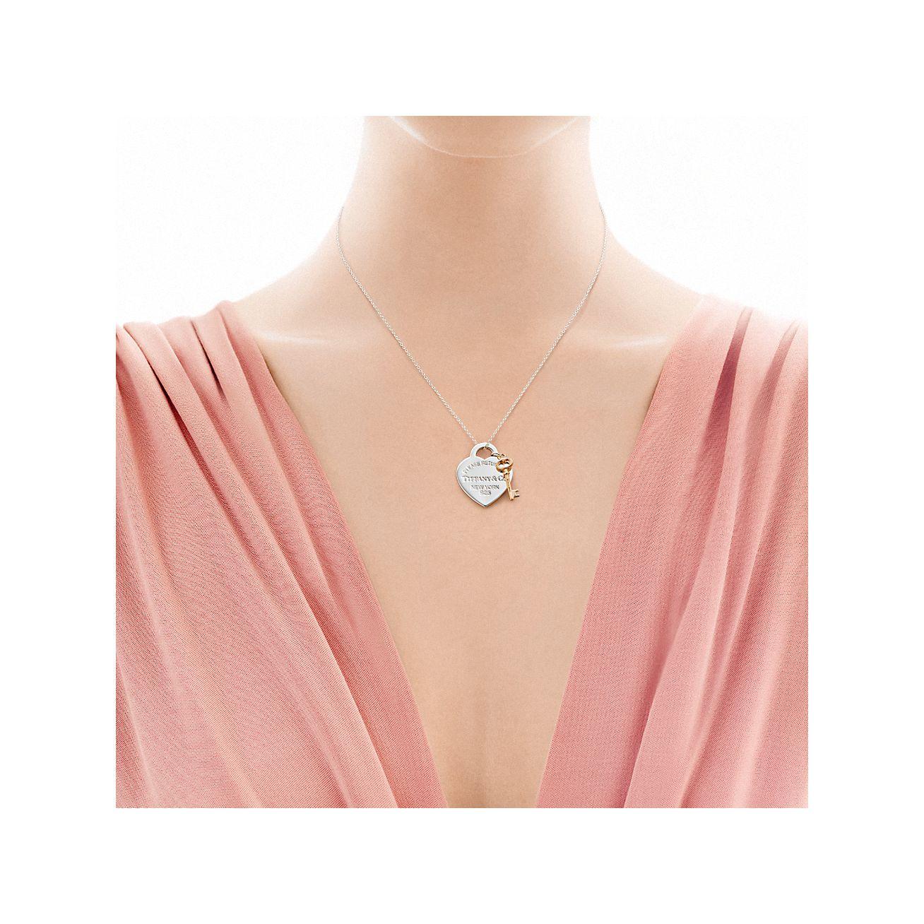 Return To Tiffany Heart Key Pendant In Silver And Rubedo Metal Medium Tiffany Co
