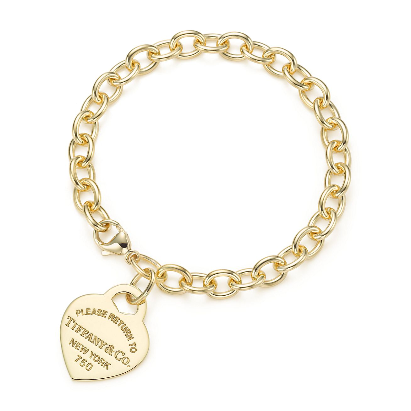 Return to Tiffany medium heart tag in 18k gold on a bracelet large