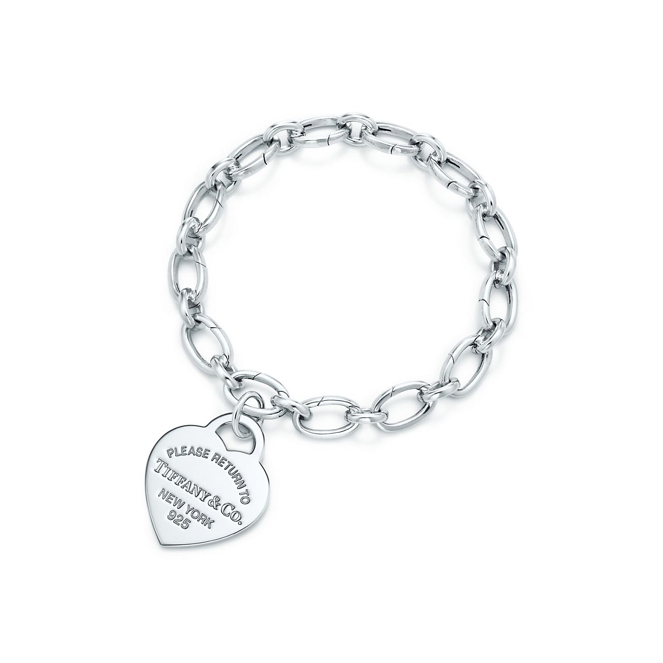 Heart Tag Charm In Sterling Silver On A