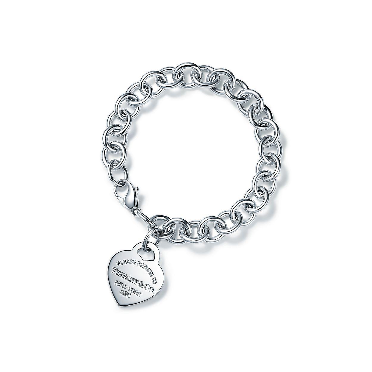 Sterling Silver Heart Tag Charm Bracelet Tiffany Co