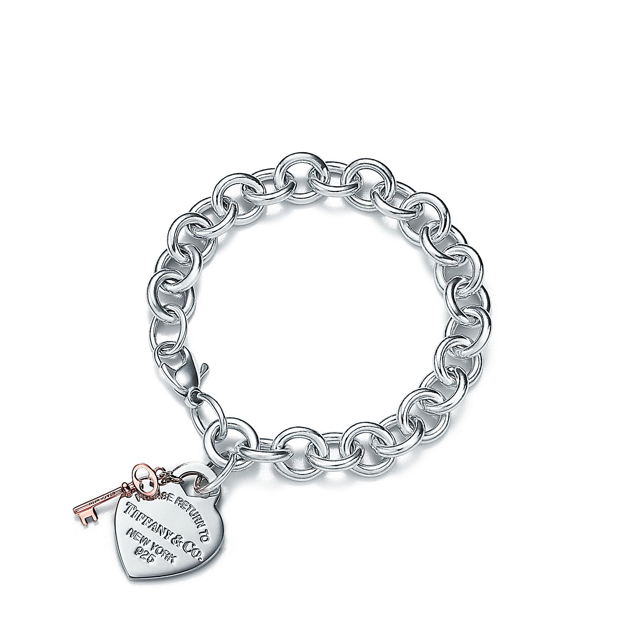 Return To Tiffany Heart Tag Key Bracelet In Sterling Silver And Rubedo Metal Co