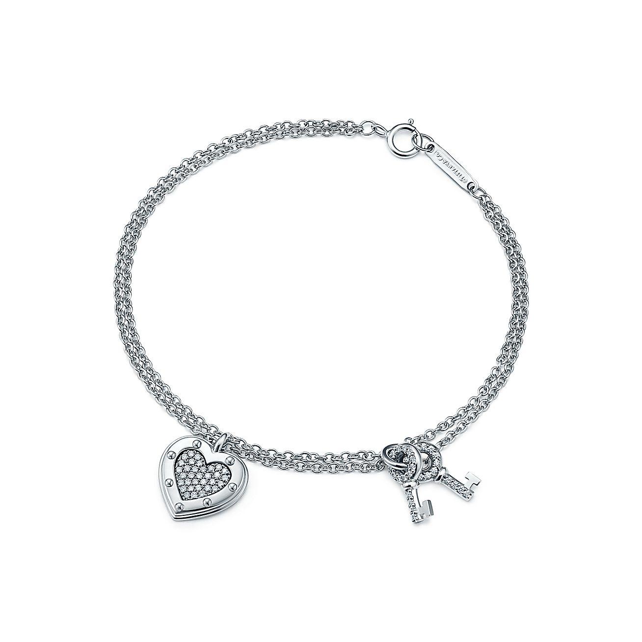 Return To Tiffany Love Bracelet In 18k White Gold With Diamonds Medium Co